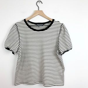 Anthropologie Striped inside out short sleeve top